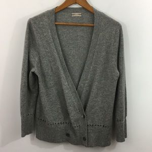 J. Crew gray cashmere buttoned cardigan - gray